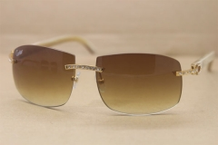 Hot Cartier FRAMES RIMLESS Big Diamond Glasses 4189705 White Buffalo horn Sunglasses Genuine horn Sunglasses In Gold Brown