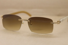 Cartier Big Diamond Glasses 8200759 Buffalo horn Rimless Sunglasses White Genuine horn Sunglasses In Gold Brown