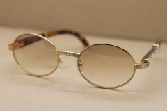 Gold Wood Glasses Men 7550178 Round Metal Sunglasses brand designer diamond Sunglasses