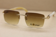New Rimless T8300816 Big Diamond glasses Brand White Genuine horn Sunglasses designer glasses