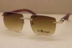 Men Women T8300816 Rimless Big diamond Sunglasses Brand designer Glasses
