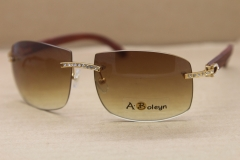Hot Larger 4189705 Men Brand Sunglasses Big Diamond Glasses Rimless Gold Wood Sun Glasses