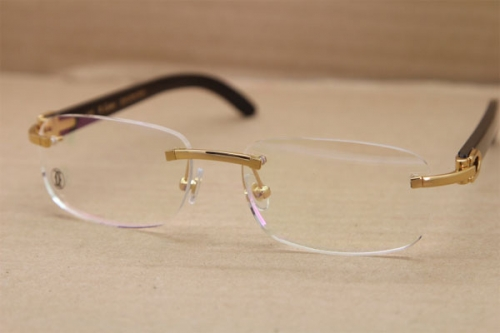 Cartier Rimless T8100864 Black Buffalo Horn Original Eyeglasses in Gold or Silver