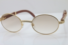 New Decor Wood frame 7550178 Wood 18K Gold Sunglasses Round Sunglasses Men Brand Smaller/Big Stones Glasses in Gold Brown Lens