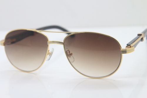 Cartier CT 569 Genuine Natural Original Black Buffalo horn Sunglasses Gold Brown Lens