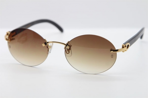 Hot Cartier CT 5124018 18K Gold Rimless Genuine Natural Sun Glasses Black Buffalo Horn Sunglasses in Gold Brown Lens Hot