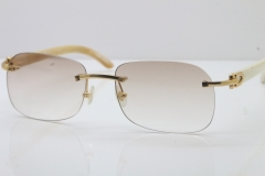 Wholesale High-end brand Carter T8100624 Original Rimless White Buffalo Horn Sunglasses in Gold Brown Lens Hot