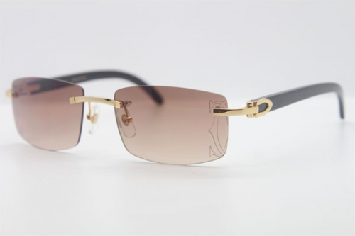 Cartier Rimless Original Black Buffalo Horn 3524012A Sunglasses In Gold Brown Lens Size:56 Hot