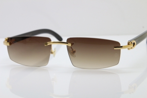 Wholesale High-end brand Carter T8100926 Rimless Black Buffalo Horn Sunglasses in Gold Brown Lens Hot
