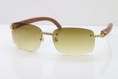Cartier Rimless Smaller Big Stones T8200497 Wood Sunglasses in Gold Brown Lens