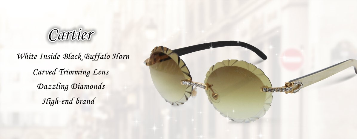 Cartier  optical Buffalo Horn Big Stones Glasses