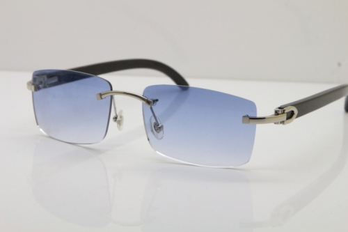 Cartier Rimless 8200758 SunGlasses Original Black Buffalo Horn Sunglasses in Silver Blue Lens