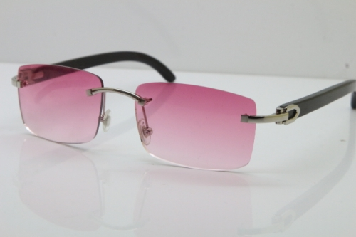 Cartier Rimless 8200758 SunGlasses Original Black Buffalo Horn Sunglasses in Silver Pink Lens