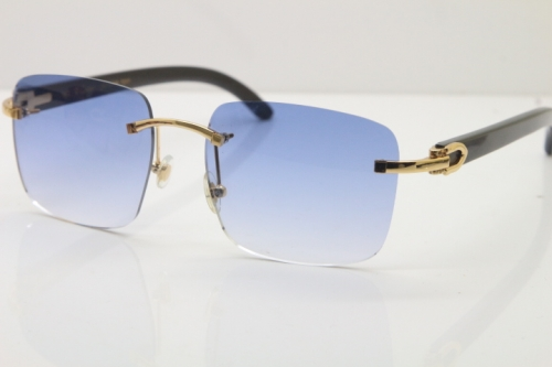 Cartier Rimless Original Black Buffalo Horn T8300816 Sunglasses in Gold Blue Lens Hot