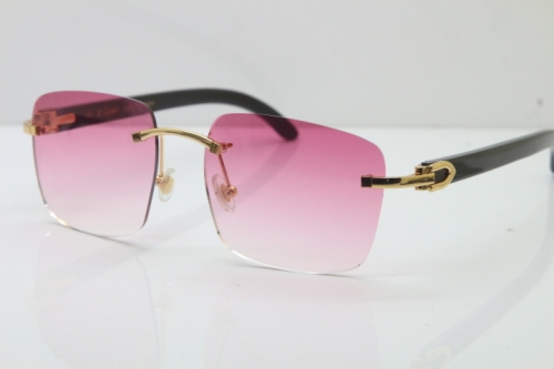 Cartier Rimless Original Black Buffalo Horn T8300816 Sunglasses in Gold Pink Lens Hot