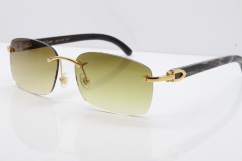 Cartier Rimless Original Black Flower Buffalo Horn 8200759 Sunglasses In Gold Brown Lens