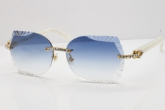 Cartier Rimless T8200762 Big Diamond Marble White Aztec Arms Sunglasses In Gold Blue Lens