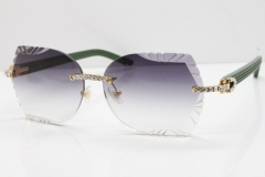 Cartier Rimless T8200762 Big Diamond Green Aztec Arms Sunglasses In Gold Gray Lens