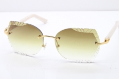 Cartier Rimless T8200762 White Aztec Arms Sunglasses In Gold Brown Lens