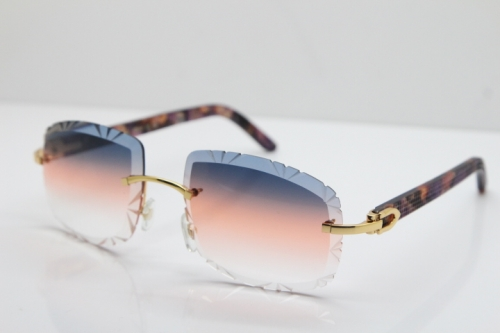 Cartier Rimless 8300816 Marble Purple Aztec Arms Sunglasses In Gold Purple Mix Orange White Lens